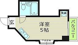 グランブルー都島(ラピス都島) 5階ワンルームの間取り