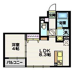 京王井の頭線 東松原駅 徒歩5分の賃貸マンション 2階1LDKの間取り