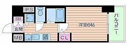 Osaka Metro谷町線 谷町四丁目駅 徒歩5分の賃貸マンション 9階1Kの間取り