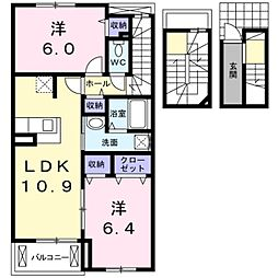愛知県豊橋市花田町字百北の賃貸アパートの間取り
