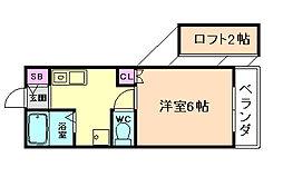 トリコット北梅田[2階]の間取り