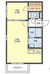 サニーガーデン那珂川 3階1LDKの間取り