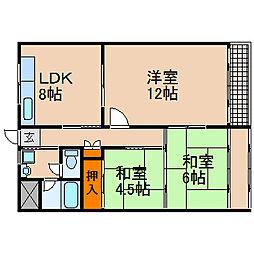 滋賀県長浜市公園町の賃貸アパートの間取り