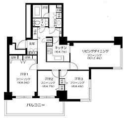 東急東横線 代官山駅 徒歩1分の賃貸マンション 8階3LDKの間取り