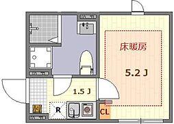 ザ・ルームス羽田 1階1Kの間取り