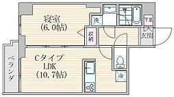 エスジーコート元浅草 7階1LDKの間取り