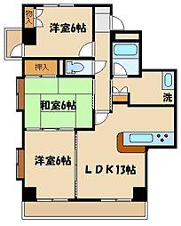 JR京浜東北・根岸線 大宮駅 徒歩11分の賃貸マンション 2階3LDKの間取り