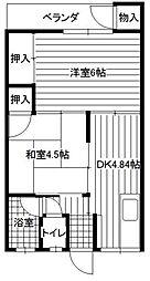 コーポ八米[2号室]の間取り