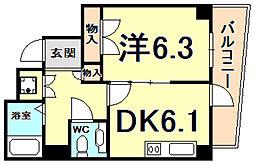 ラ・セーヌ西宮 7階1DKの間取り