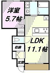 東京都八王子市丹木町2丁目の賃貸アパートの間取り