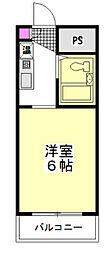 東武東上線 朝霞駅 徒歩17分の賃貸マンション 1階ワンルームの間取り