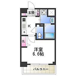 近鉄南大阪線 北田辺駅 徒歩7分の賃貸マンション 3階1Kの間取り