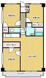 神奈川県川崎市宮前区東有馬2丁目の賃貸マンションの間取り
