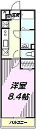 JR八高線 北八王子駅 徒歩5分の賃貸マンション 2階1Kの間取り