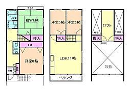 [テラスハウス] 大阪府豊中市熊野町3丁目 の賃貸【/】の間取り