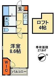 JR常磐線 北松戸駅 徒歩15分の賃貸アパート 1階1Kの間取り