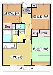マンション ラ・ベルヴィ[3階]の間取り