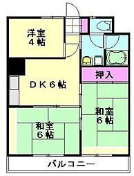 埼玉新都市交通 加茂宮駅 徒歩9分の賃貸マンション 3階3DKの間取り