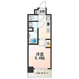 近鉄南大阪線 河堀口駅 徒歩2分の賃貸マンション 10階1Kの間取り