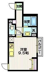 京王井の頭線 東松原駅 徒歩5分の賃貸マンション 2階ワンルームの間取り