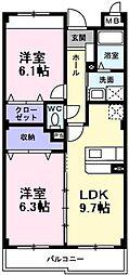 インヴィテ・ボヌールII番館 1階2LDKの間取り