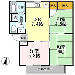 大阪府堺市中区土師町2丁の賃貸アパートの間取り