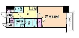 Osaka Metro谷町線 南森町駅 徒歩8分の賃貸マンション 8階1Kの間取り