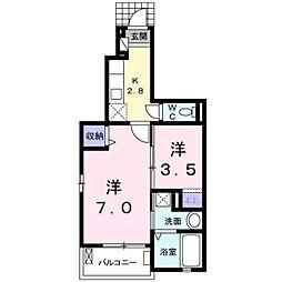 愛知県豊田市今町7丁目の賃貸アパートの間取り