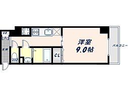 JR大阪環状線 桃谷駅 徒歩9分の賃貸マンション 9階1Kの間取り