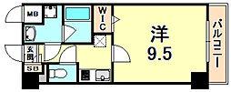 ラ・ビィNAKAZEN 6階1Kの間取り