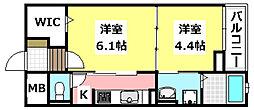 JR東海道・山陽本線 JR総持寺駅 徒歩20分の賃貸マンション 2階1DKの間取り