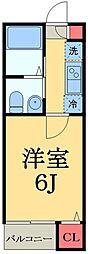 JR総武線 船橋駅 徒歩9分の賃貸アパート 2階1Kの間取り