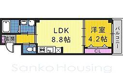 (仮)中三国ヶ丘7丁マンション 2階1LDKの間取り