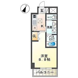 泉北高速鉄道 和泉中央駅 徒歩7分の賃貸マンション 4階1Kの間取り