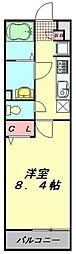 東武東上線 川越駅 徒歩10分の賃貸マンション 2階1Kの間取り