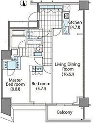 コンフォリア新宿イーストサイドタワー タワー棟 17階2LDKの間取り