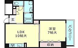 パルコ城東 5階1LDKの間取り