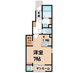 中戸祭町アパート(025569901) 1階1Kの間取り
