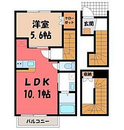 JR東北本線 宇都宮駅 バス20分 一里下車 徒歩4分の賃貸アパート 3階1LDKの間取り