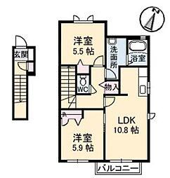 リブラン C[2階]の間取り