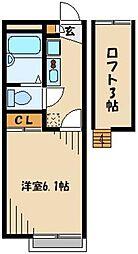 東武東上線 鶴瀬駅 徒歩24分の賃貸アパート 2階1Kの間取り
