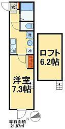 JR常磐線 松戸駅 徒歩8分の賃貸アパート 3階1Kの間取り