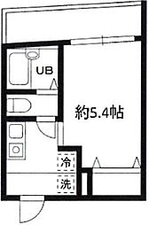 JR山手線 恵比寿駅 徒歩10分の賃貸マンション 1階1Kの間取り