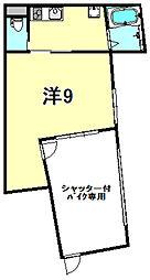 阪神本線 打出駅 徒歩4分の賃貸アパート 1階1Kの間取り