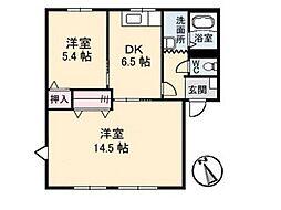 ガーデンスクエア福島 B[1階]の間取り