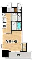 Osaka Metro谷町線 四天王寺前夕陽ヶ丘駅 徒歩2分の賃貸マンション 3階1Kの間取り