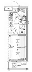 東急多摩川線 武蔵新田駅 徒歩9分の賃貸マンション 3階2Kの間取り