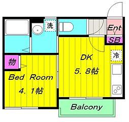 京王相模原線 京王稲田堤駅 徒歩6分の賃貸アパート 2階1DKの間取り