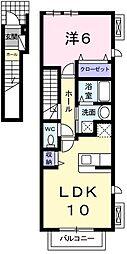 東京都羽村市川崎2丁目の賃貸アパートの間取り