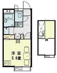 JR川越線 笠幡駅 徒歩14分の賃貸アパート 2階1Kの間取り